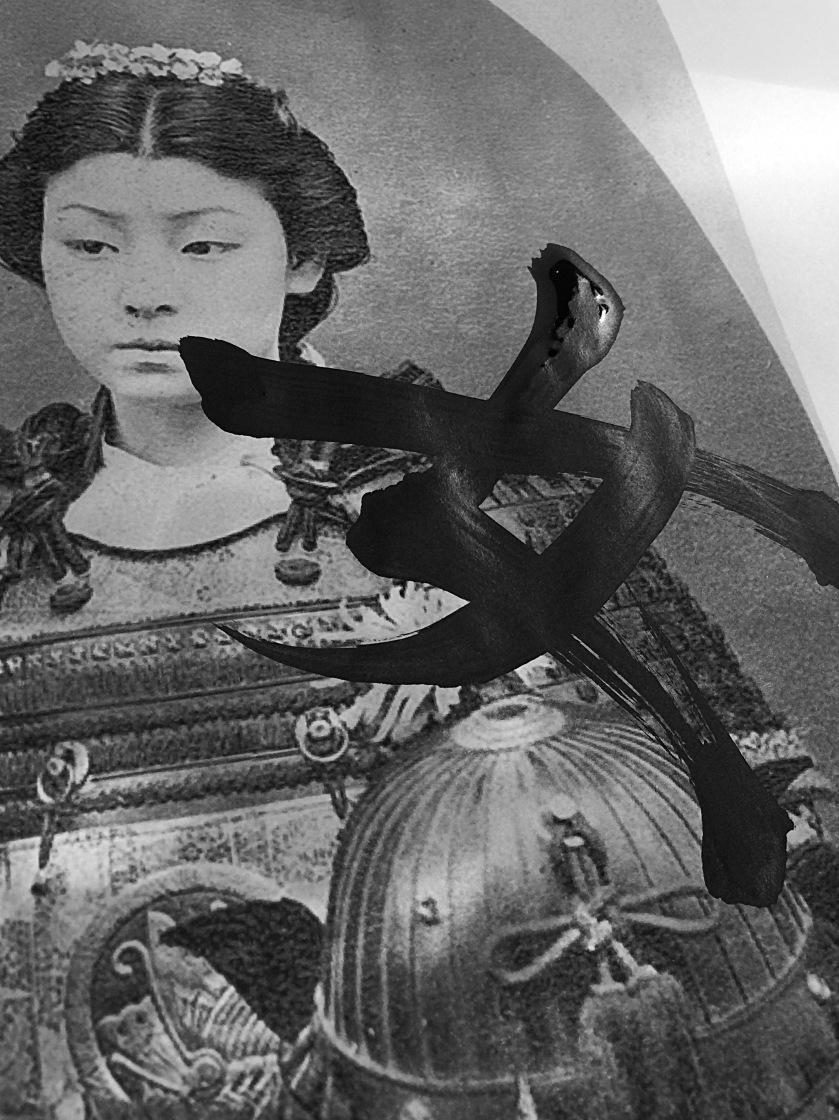 Photographie d'une femme japonaise en tenue de Samouraï. Vision extrêmement rare dans le vieux japon patriarcal.